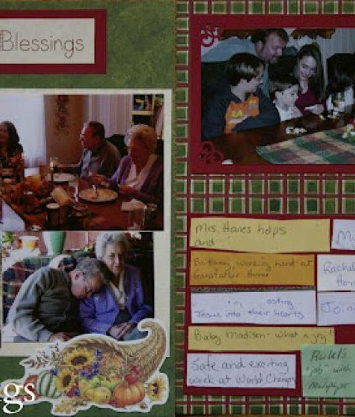 """Each year I make a scrapbook layout and use some of our """"blessings"""" as a reminder of our year."""