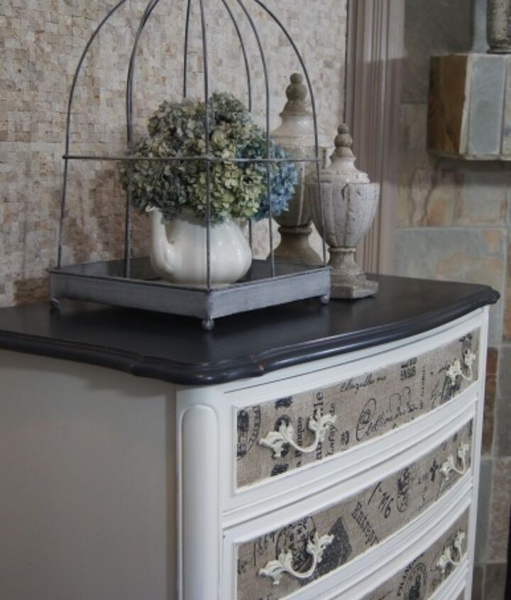 dresser with fabric inlay, chalk paint, painted furniture