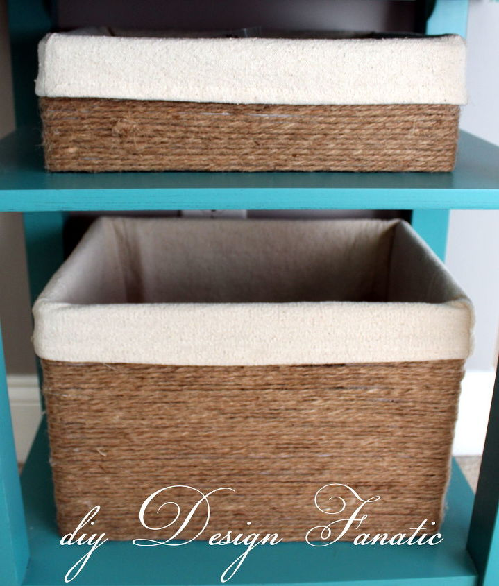I wrapped & hot glued some jute string around a shoe box for the top box and the wine box is on the bottom.