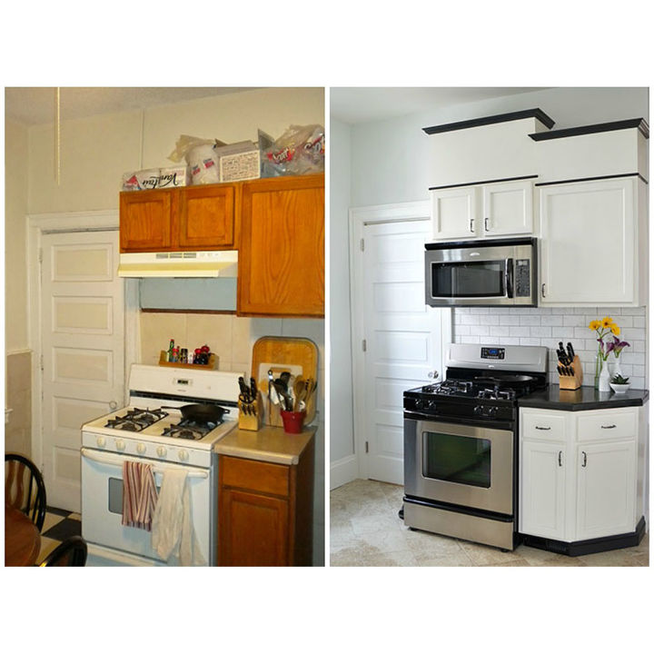 The stove wall, before and after.