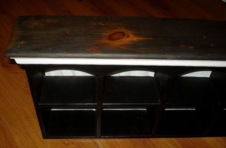 The top unit had this big lovely knot in it so I used the same ebony stain as the desk top to keep it consistent.