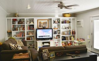 before after family room remodel, home decor, living room ideas, painting, shelving ideas, After the remodel A new ceiling 8 higher than the old crummy suspended tile