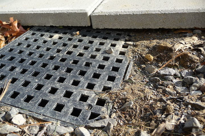 q how to finish this drainage grating problem at back of house, concrete masonry, home maintenance repairs, patio, plumbing