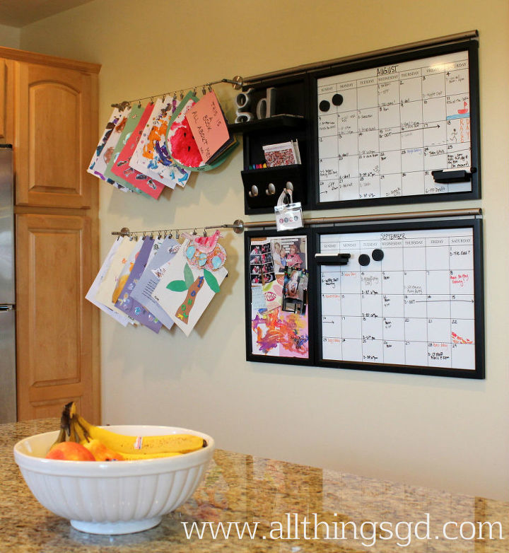 I've previously shared our kitchen calendar command center – a system that continues to keep our schedules organized and our lives running smoothly – and now I've added to it with a simple DIY project to hold our daughter's artwork!