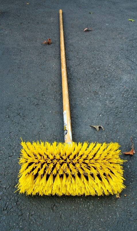 I used this scrub brush. Stiff but not destructive.