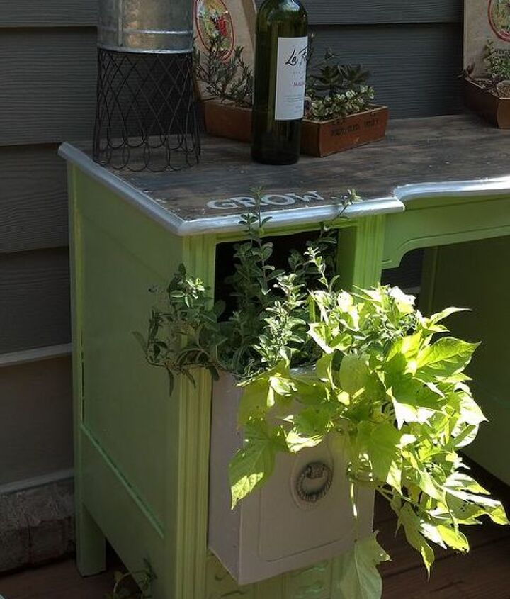 repurposed vanity, gardening, repurposing upcycling