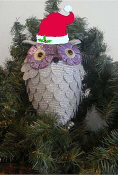 create a glitzy owl, crafts, seasonal holiday decor, So cute and adorable