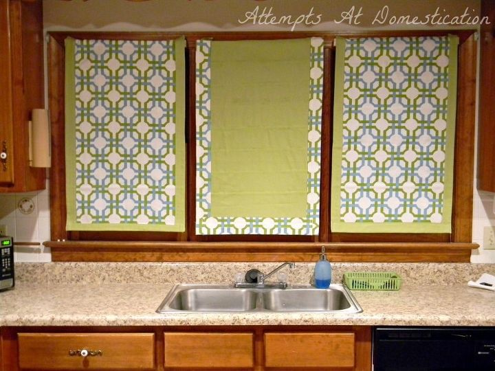 old blinds turned roman shades, home decor, reupholster, window treatments