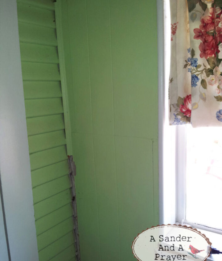 Cool 1920's siding on the left and 70's paneling on the right.  The laundry room used to be a screened in porch.