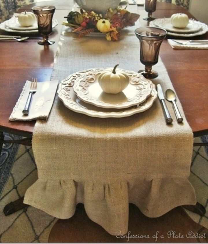 My most popular project...my ruffled burlap table runner...fun and easy to make