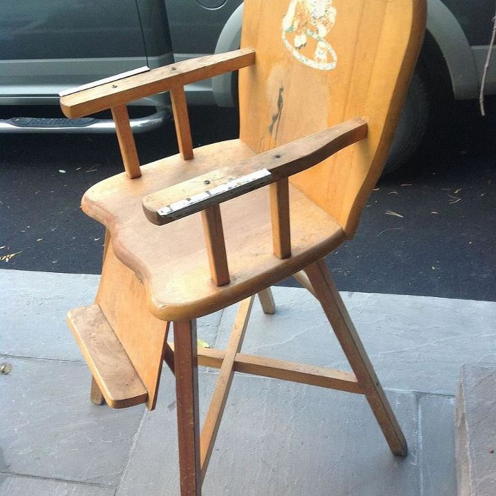Old Wooden Baby High Chair What To Do Hometalk