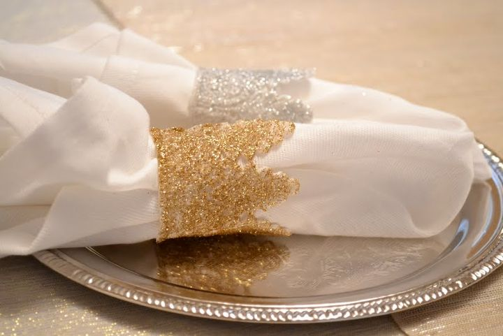 diy glitter lace napkin rings, crafts, glitter lace napkin rings