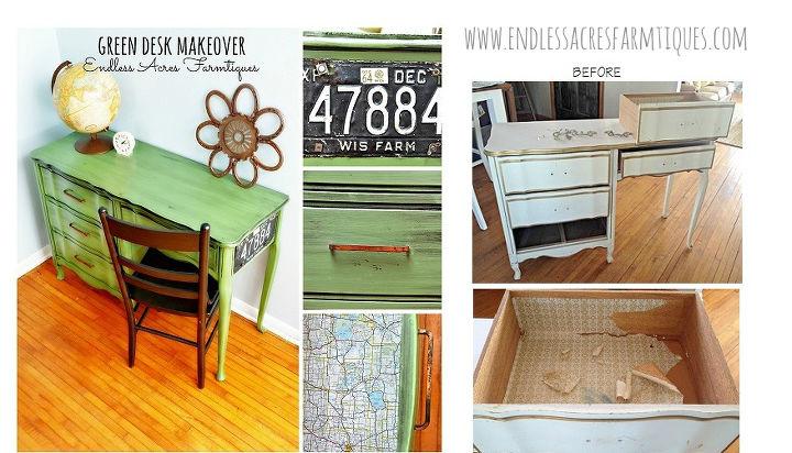 vintage green desk makeover, painted furniture, rustic furniture
