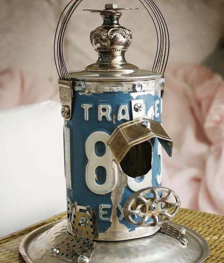 "Cornflower Blue License Plate Silverplate ""Lantern"" Repurposed Upcycled Metal Birdhouse"
