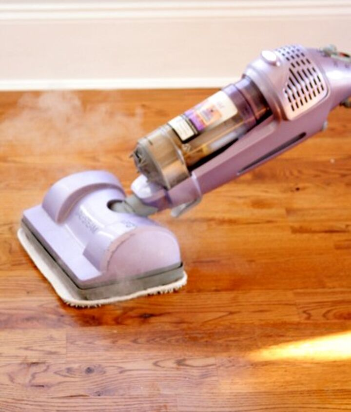 Before cleaning I use my shark steamer which omits a high degree of water and no water residual on the floor.