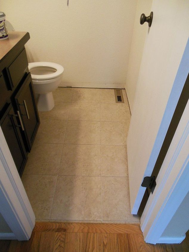 grouted vinyl tile, bathroom ideas, flooring, tile flooring, tiling, Here is the floor pre grout Looks so much better than before but tile is always better after you grout it