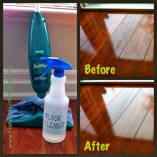 Homemade Floor Cleaner - before/after shots of our dark laminate wood floors