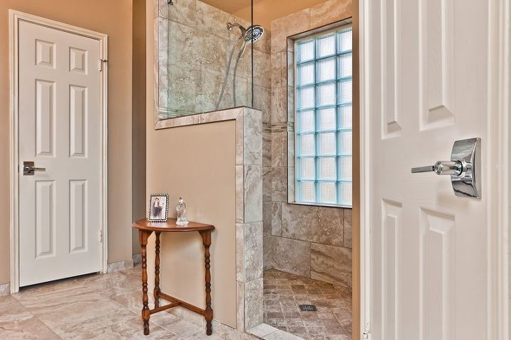 come in and enjoy, bathroom ideas, home decor, home improvement, What a difference has been made in this bathroom The open shower has new lighting from the glass blocks and the soft color creates a softness that is warming and welcoming
