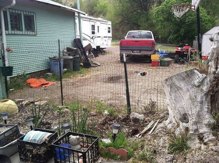 picture of my back yard.  notice the tree stump and garage.