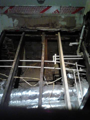 replaced that floor joist.. crooked in the picture but was straighten out.
