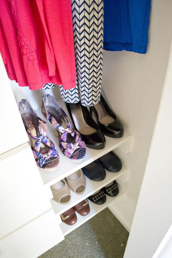 shoe storage with four pairs per shelf