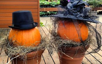 whimsical fall planters, gardening, halloween decorations, seasonal holiday d cor, A simple pumpkin propped in a pot on a nest of hay Pop on a decorative hat from Walmart for a simple display