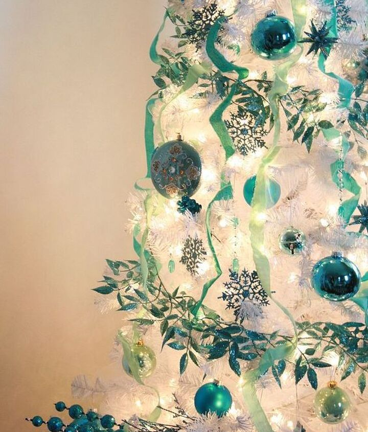 Still decorating the tree...{leftover fabric scraps as ribbon}