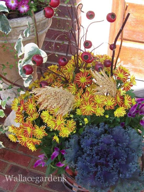 The front porch is transformed into a jewel box, bursting with autumn joy.