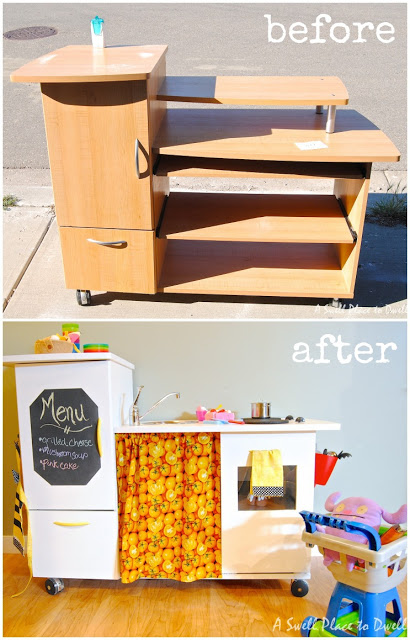 old desk turned play kitchen, crafts, repurposing upcycling