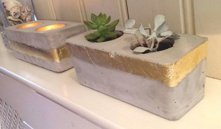 concrete and gold planter and tealight votive