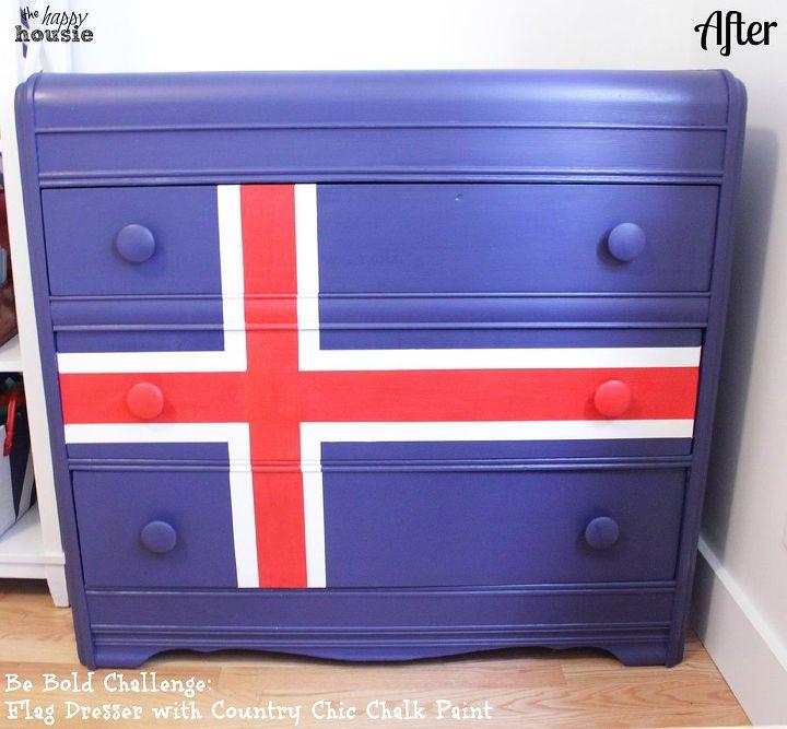 chalk painted flag dresser transformation, chalk paint, painted furniture