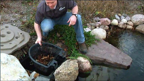 Tip #9 Install an Aquascape Pond Skimmer. Your Pump will be protected inside the skimmer. Leaves will be drawn from the Pond surface. They can be easily removed later instead of collecting on the bottom and clogging up your Pump.