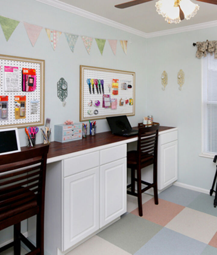 DIY craft room desk using cabinets for plenty of storage and organization