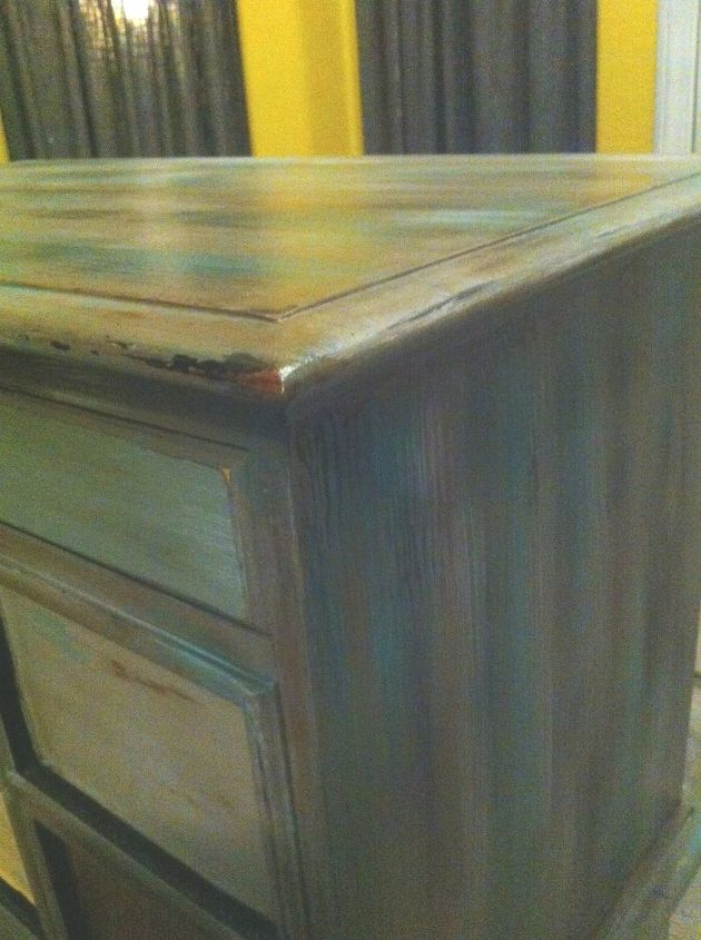 thrift store find distressed and almost finished, painted furniture