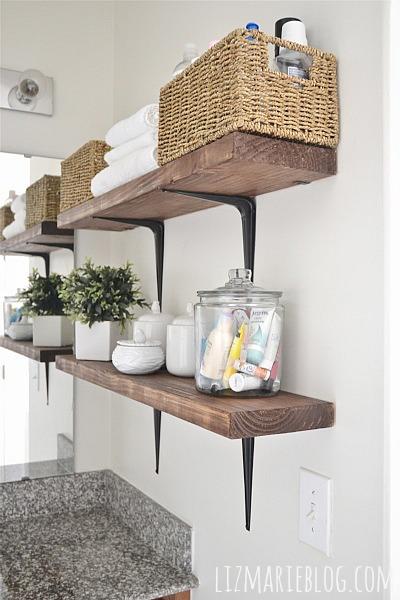DIY Rustic Wood & Metal Bathroom Shelves   Hometalk