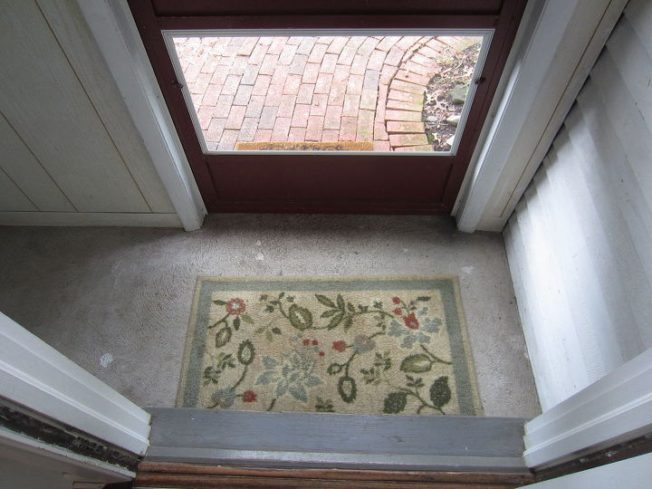 q any ideas for decorating my entryway also any creative ideas for the mail slot for, doors, foyer, home decor, cement floor