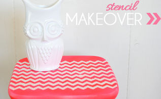 diy chevron stenciled color blocked stool, painted furniture, Final with cute little owl