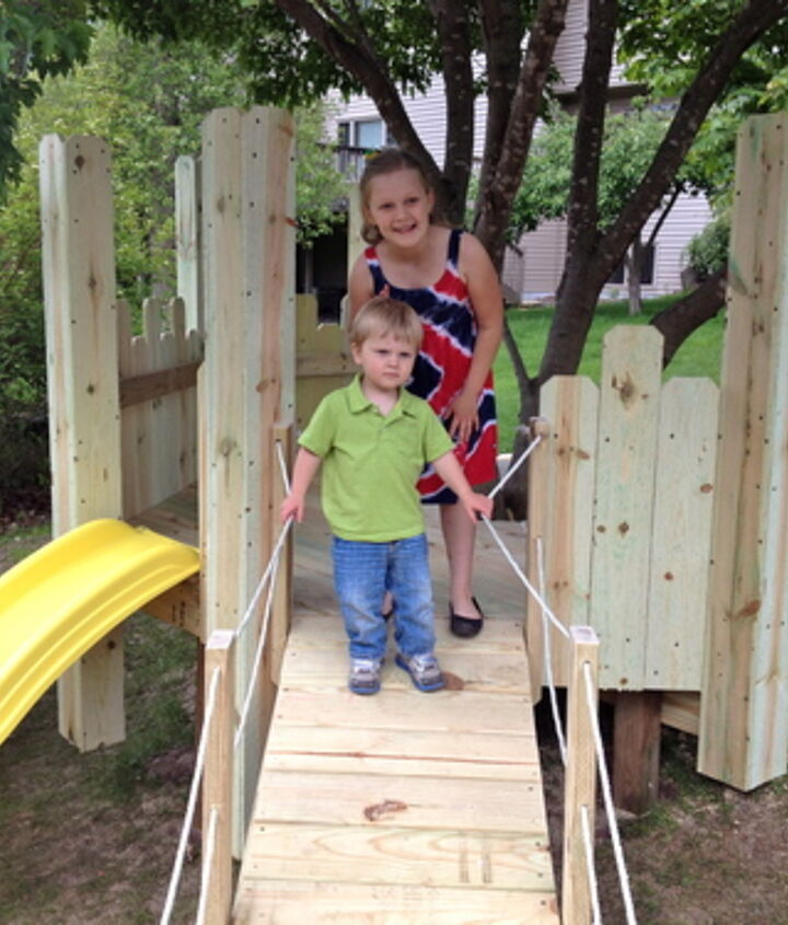 We added a slide and a ramp on the downhill side of the castle.