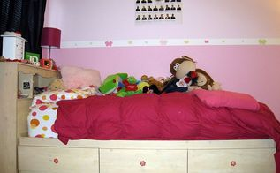 great storage bed and furniture for a girl s room, bedroom ideas, painted furniture, storage ideas, One of my daughter s beds The three drawers underneath the bed allow plenty of storage and the bookcase headboard gives her a place to store her books