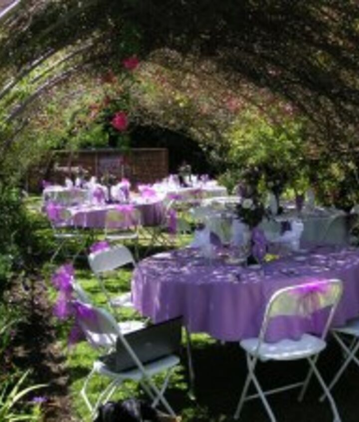 Under the rose arbor lunch was served.