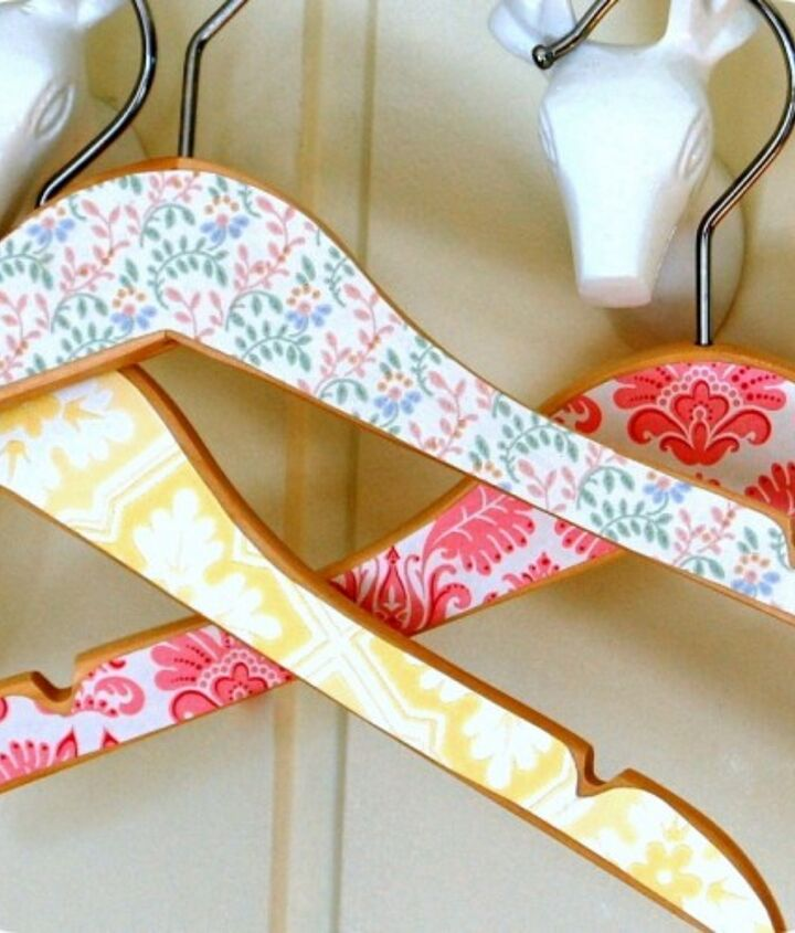 Thought you couldn't get enough of wallpaper - cut out pieces and apply to shirt hangers - so cute for a kids closet!