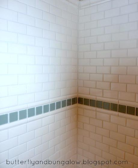 easy inexpensive subway tile, bathroom ideas, diy, tiling, Aqua glass tile with subway sheet tile
