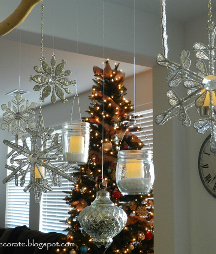 diy christmas ornament and mason jar chandelier, christmas decorations, crafts, mason jars, seasonal holiday decor