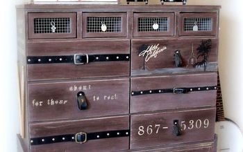rock amp roll dresser, painted furniture, repurposing upcycling, After Old belts as drawer pulls