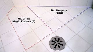q bathroom deep cleaning time professional cleaners vs homeowners, bathroom ideas, cleaning tips, Results for cleaning old worn tile pitting Mr Clean Magic Erasers against Bar Keepers Friend powder cleanser It was close but I give this ROUND to Bar Keepers Friend