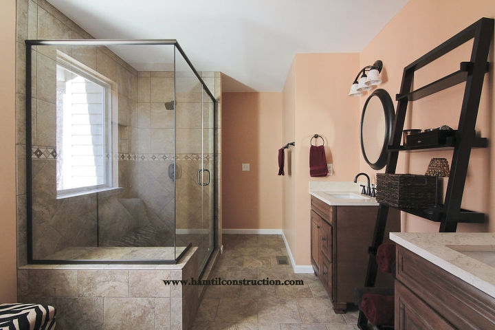 New redesigned space, with a custom tile shower.