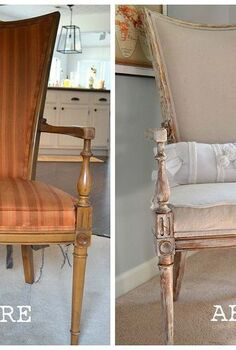 an upholstered chair that has a story to tell, painted furniture, This was my grandparent s vintage chair The fabric was outdated so I decided to reupholster it
