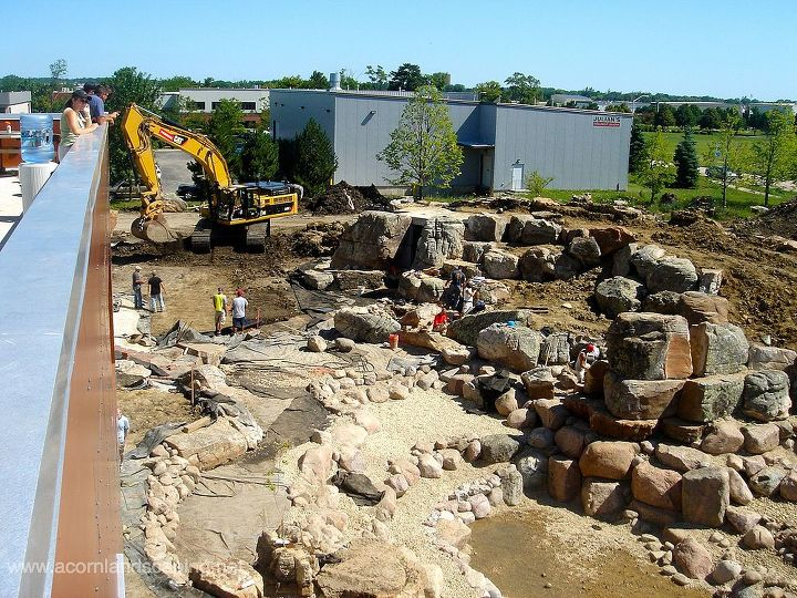 During Pond Construction we moved around a lot of rock. Good thing there were plenty of Certified Aquascape Contractors on hand.