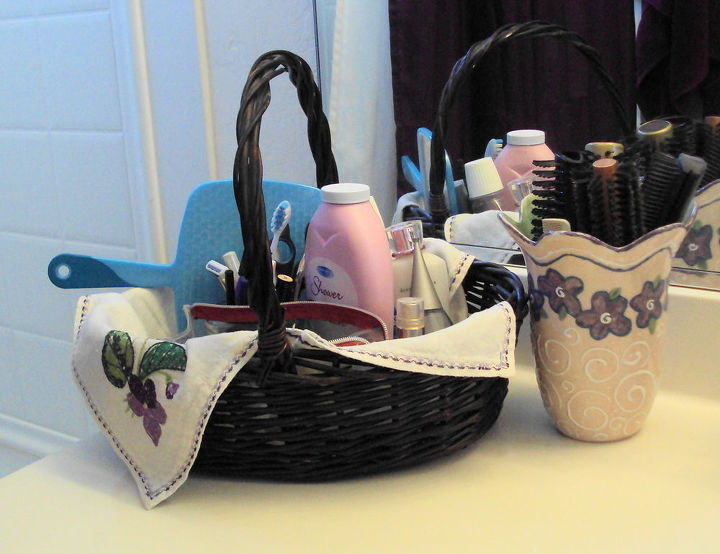 Use a great basket with a liner that appeals to you for daily essentials on your vanity