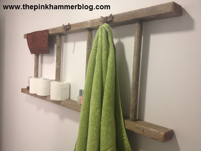 upcycled repurposed ladder bathroom shelf diy, bathroom ideas, repurposing upcycling, shelving ideas, storage ideas